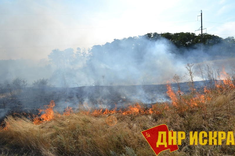 Горящие поля на Донбассе.