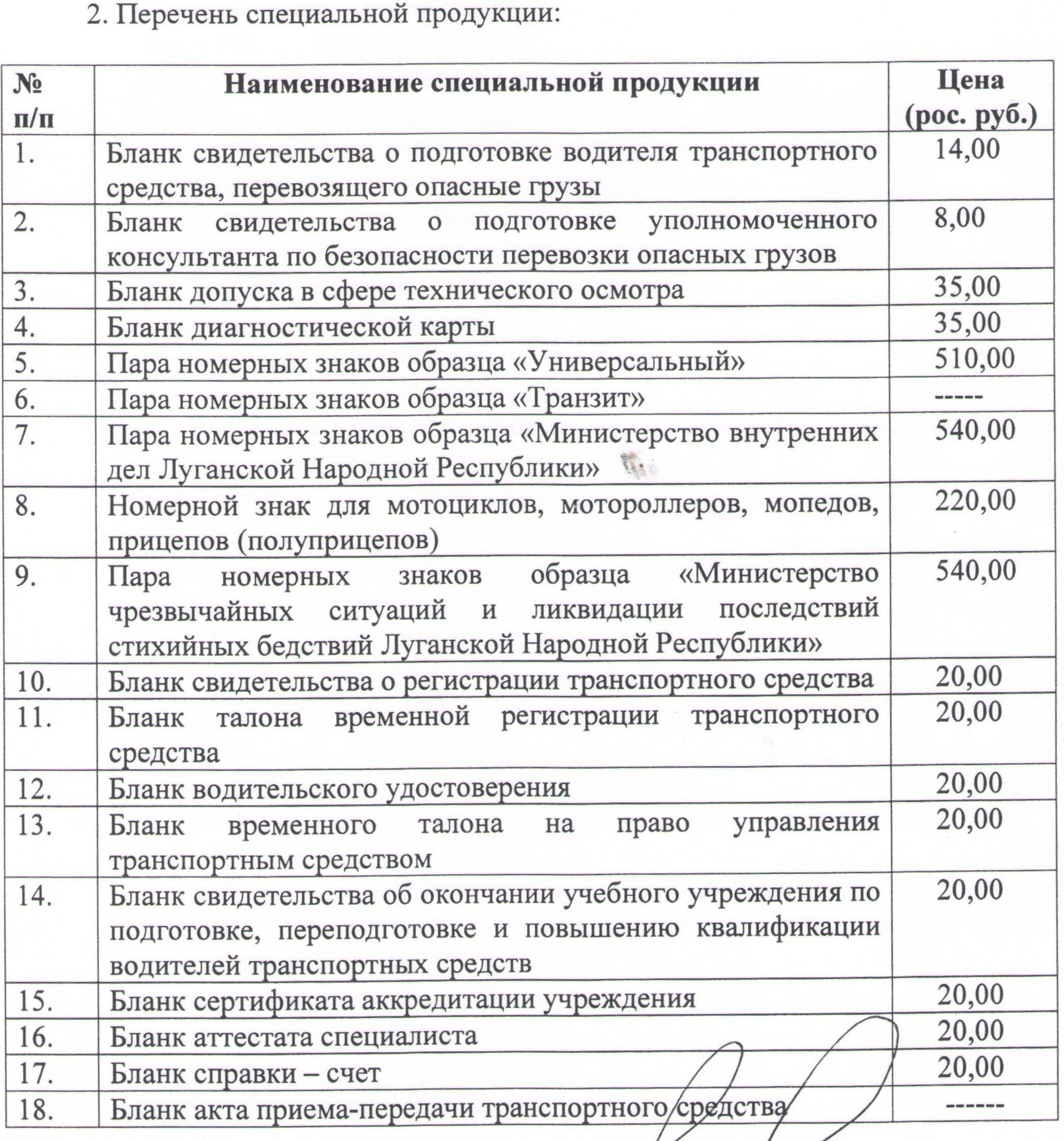 Перечень платных услуг. стр.5