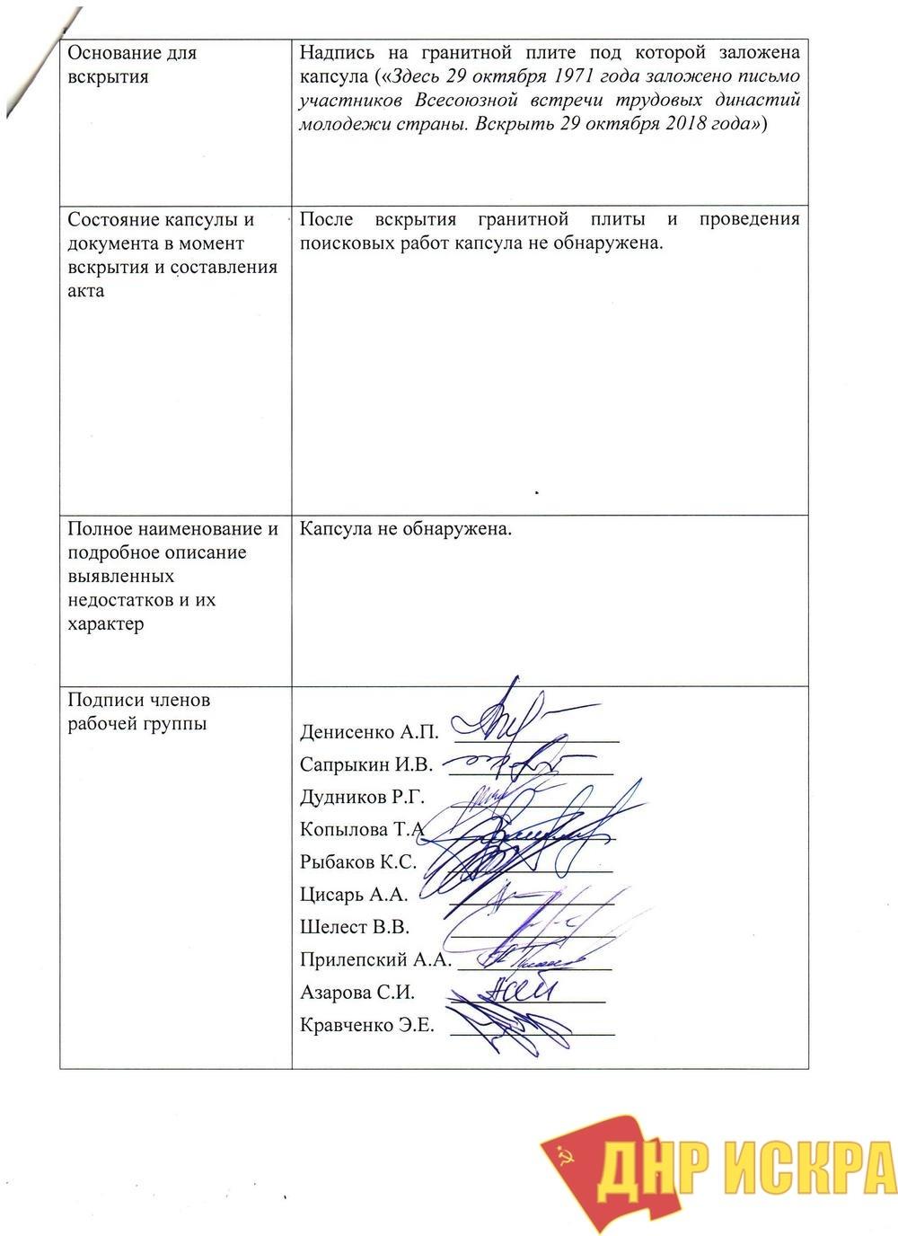 «Капсула времени» в Донецке не обнаружена (видео)