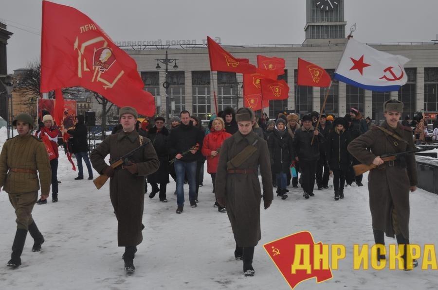 В Ленинграде состоялся митинг по случаю 101-й годовщины создания Красной Армии