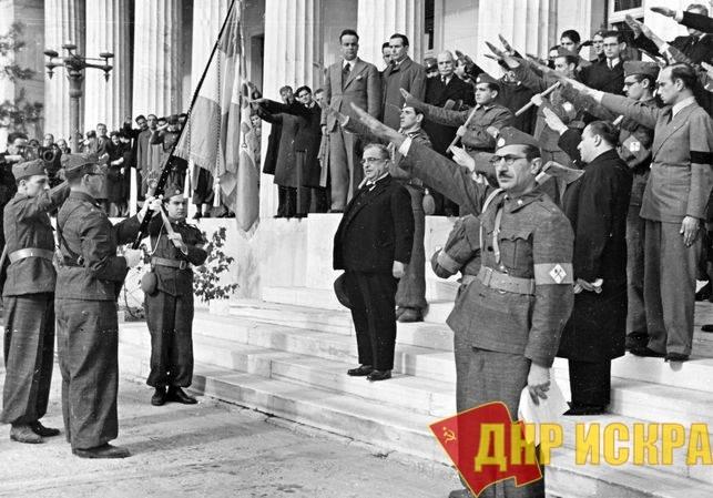 Метаксаса приветствуют греческие военные