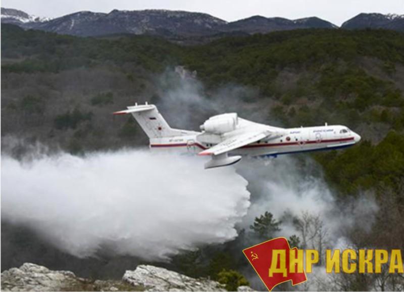 Уникальный российский гидросамолет Бе-200 горит ясным пламенем