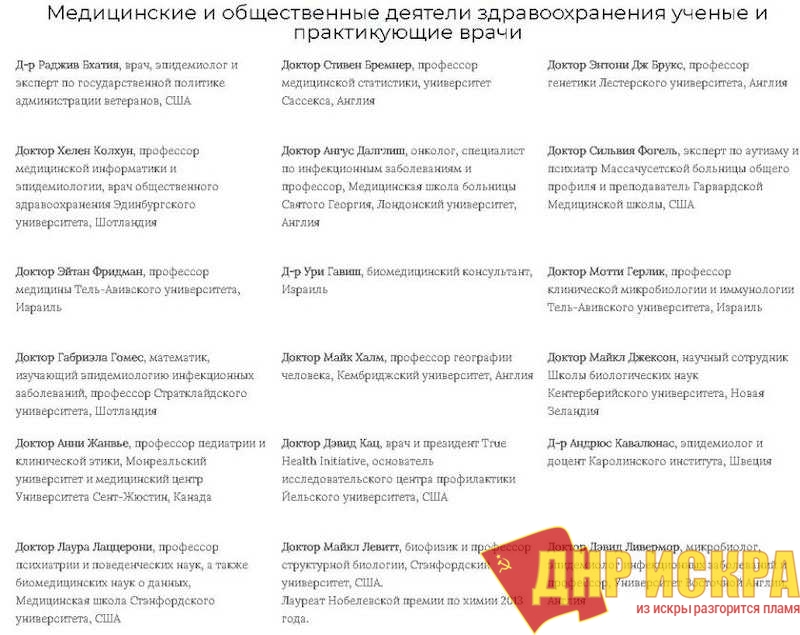 Начало списка тех, кто подписался под словами профессоров.